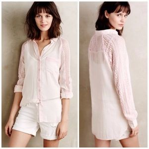 HOLDING HORSES | Anthro Pink Lace Button Down Top